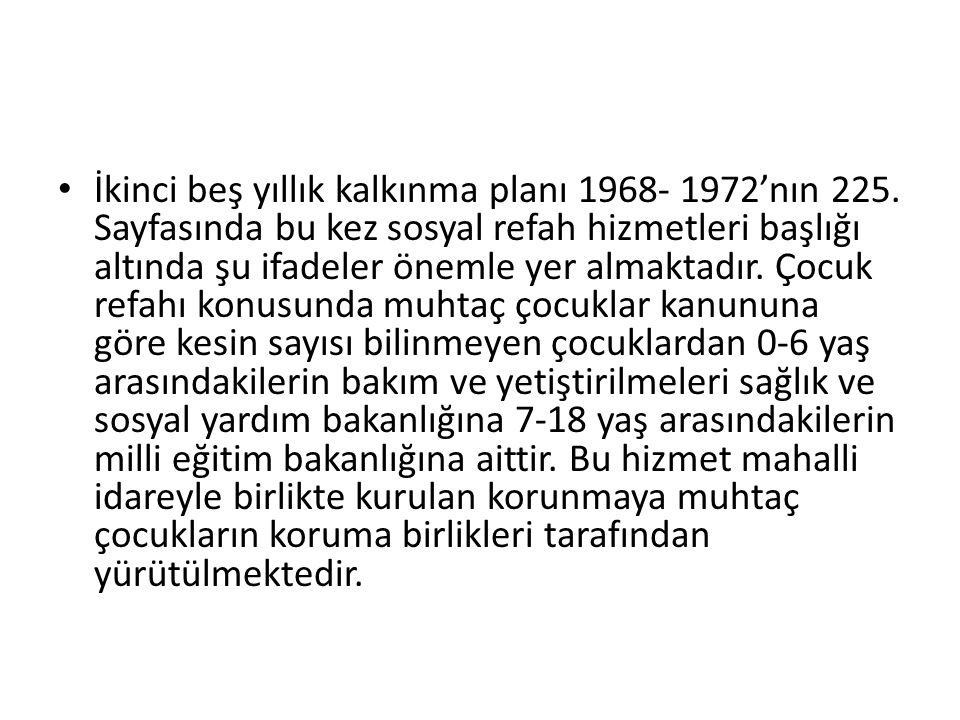 İkinci beş yıllık kalkınma planı 1968- 1972'nın 225