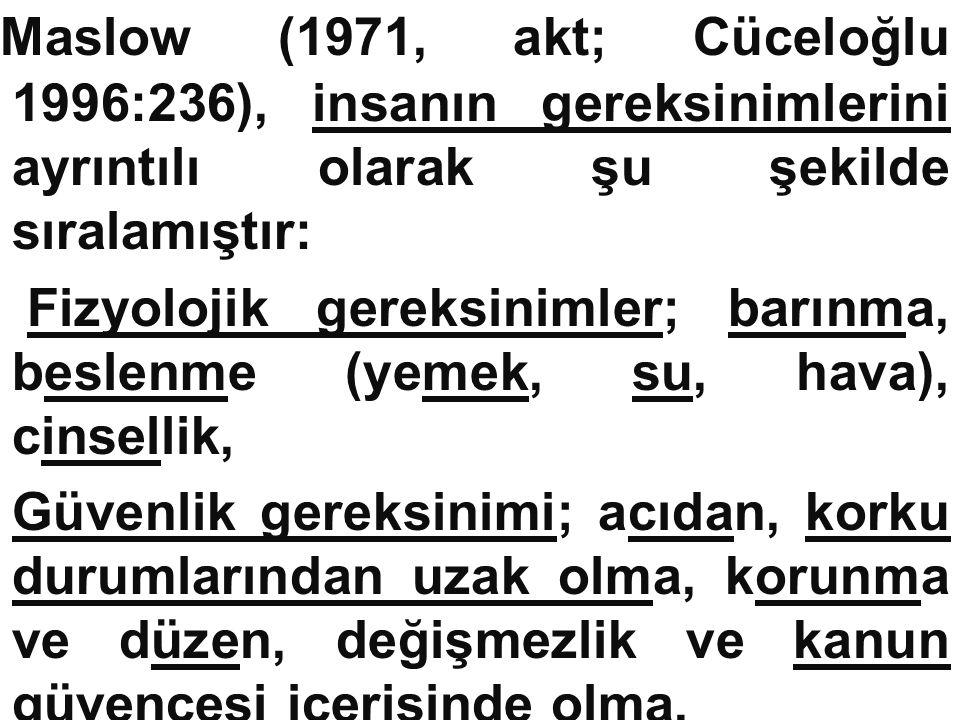 Maslow (1971, akt; Cüceloğlu 1996:236), insanın gereksinimlerini ayrıntılı olarak şu şekilde sıralamıştır: