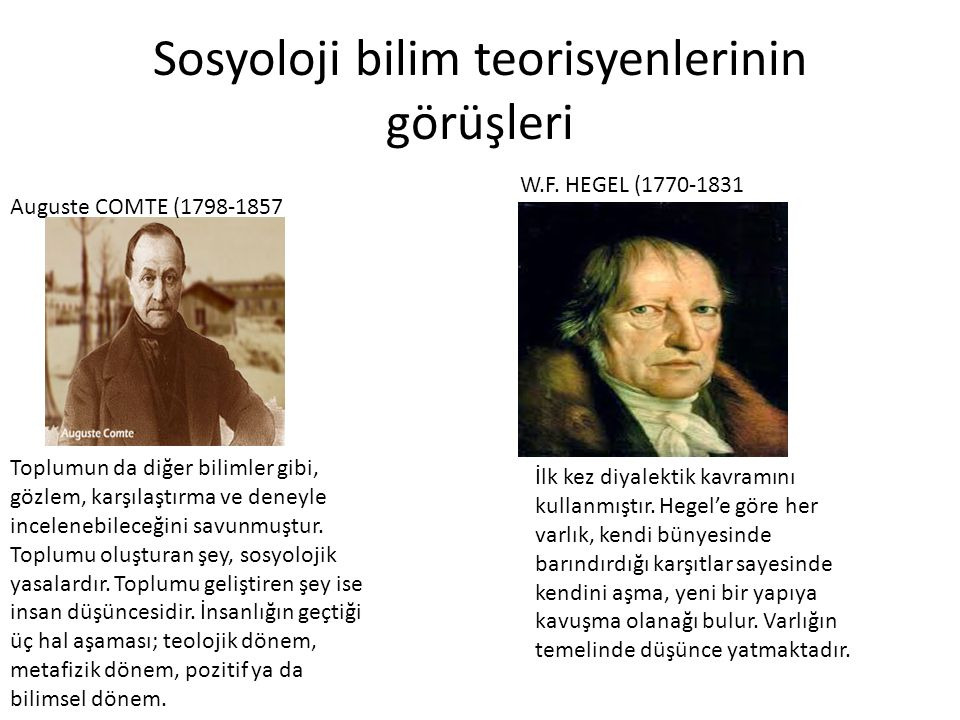 Sosyoloji bilim teorisyenlerinin görüşleri