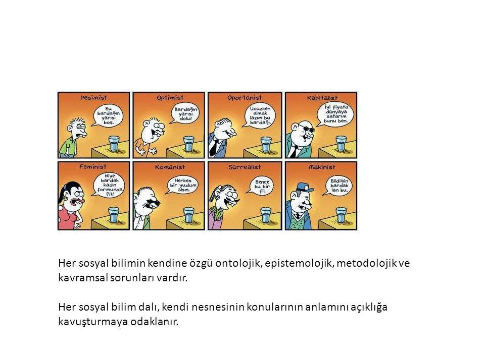 Her sosyal bilimin kendine özgü ontolojik, epistemolojik, metodolojik ve kavramsal sorunları vardır.