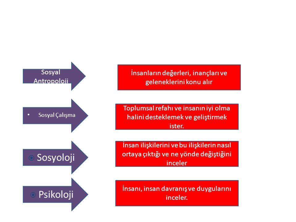 Sosyoloji Psikoloji Sosyal Antropoloji