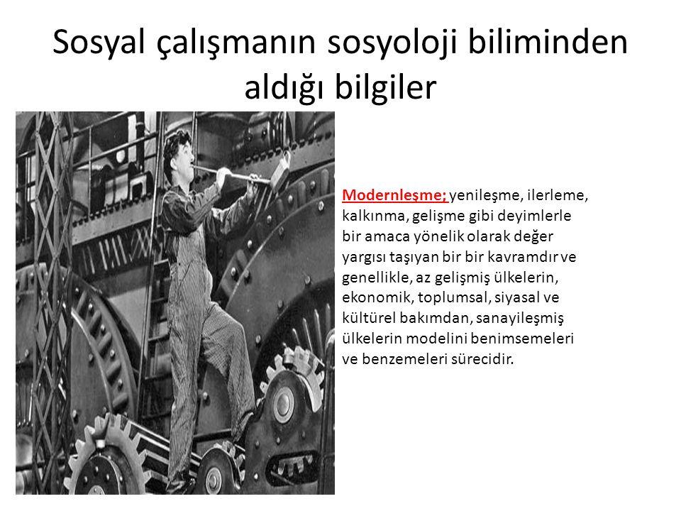 Sosyal çalışmanın sosyoloji biliminden aldığı bilgiler