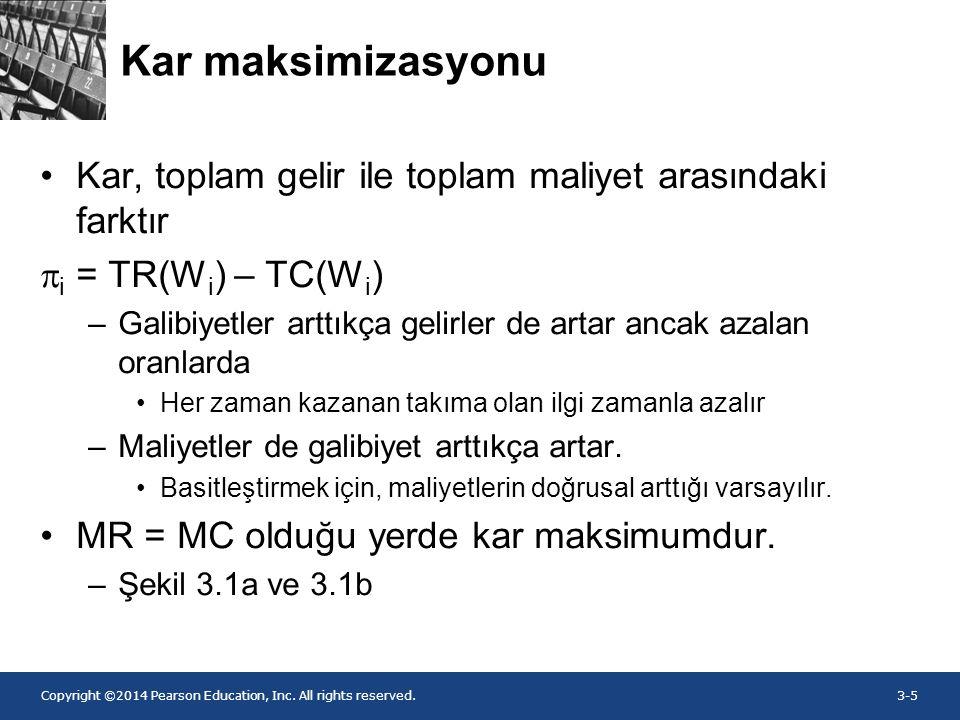 Kar maksimizasyonu Kar, toplam gelir ile toplam maliyet arasındaki farktır. pi = TR(Wi) – TC(Wi)