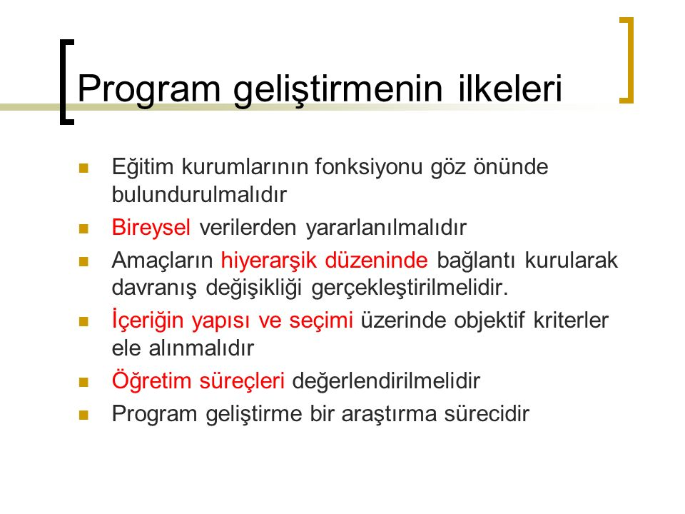 Program geliştirmenin ilkeleri