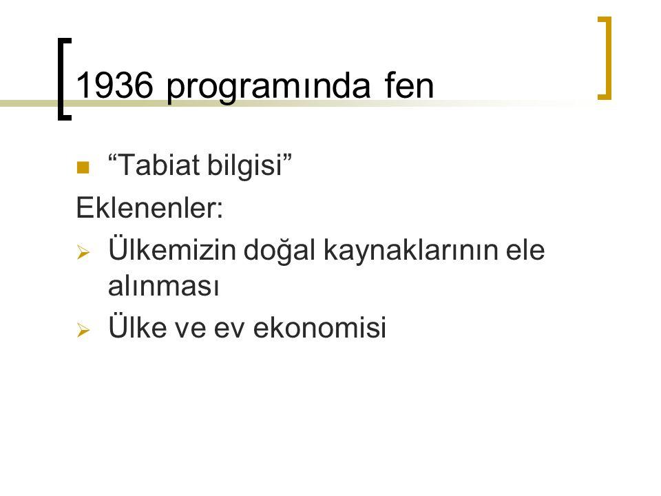 1936 programında fen Tabiat bilgisi Eklenenler: