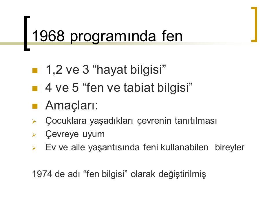 1968 programında fen 1,2 ve 3 hayat bilgisi