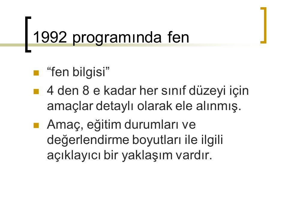 1992 programında fen fen bilgisi