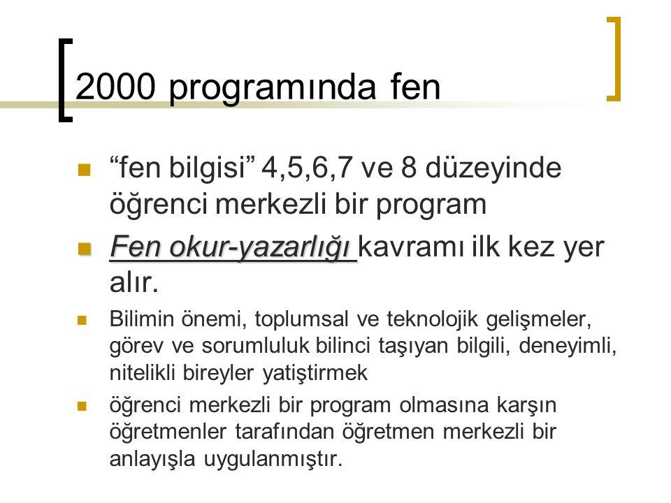 2000 programında fen fen bilgisi 4,5,6,7 ve 8 düzeyinde öğrenci merkezli bir program. Fen okur-yazarlığı kavramı ilk kez yer alır.