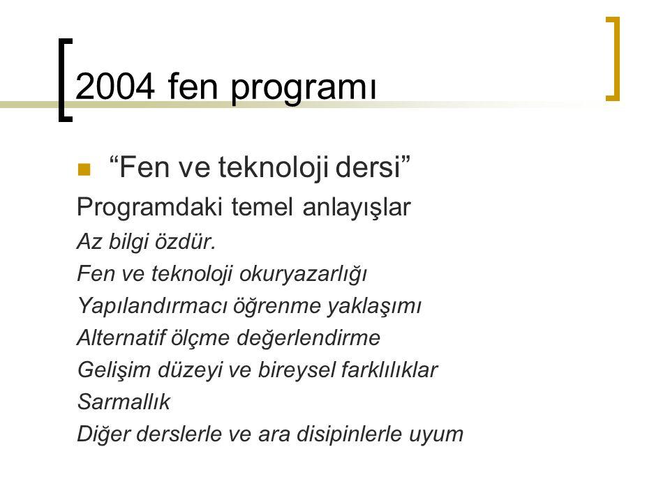 2004 fen programı Fen ve teknoloji dersi