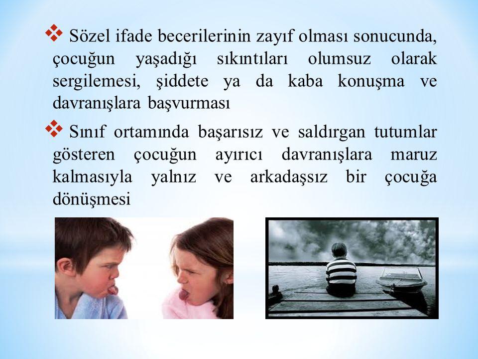 Sözel ifade becerilerinin zayıf olması sonucunda, çocuğun yaşadığı sıkıntıları olumsuz olarak sergilemesi, şiddete ya da kaba konuşma ve davranışlara başvurması