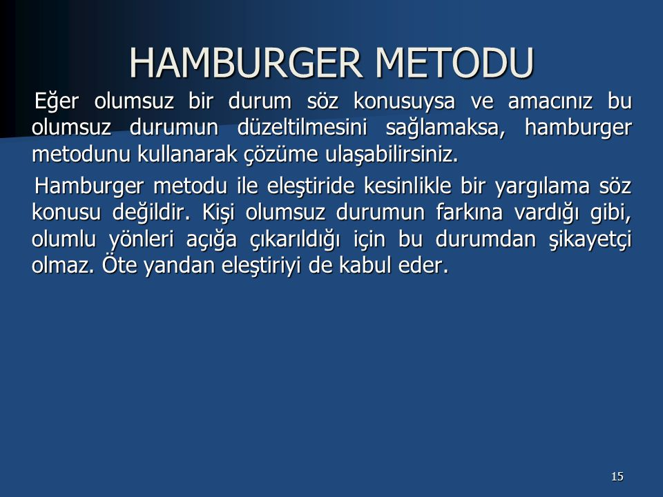 HAMBURGER METODU