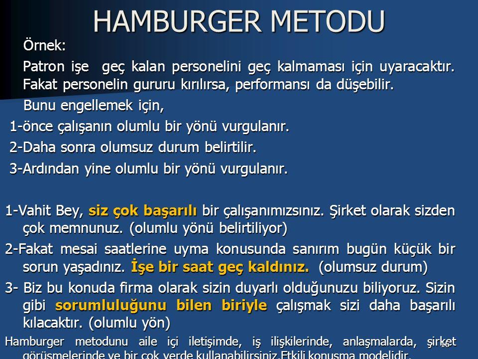 HAMBURGER METODU Örnek: