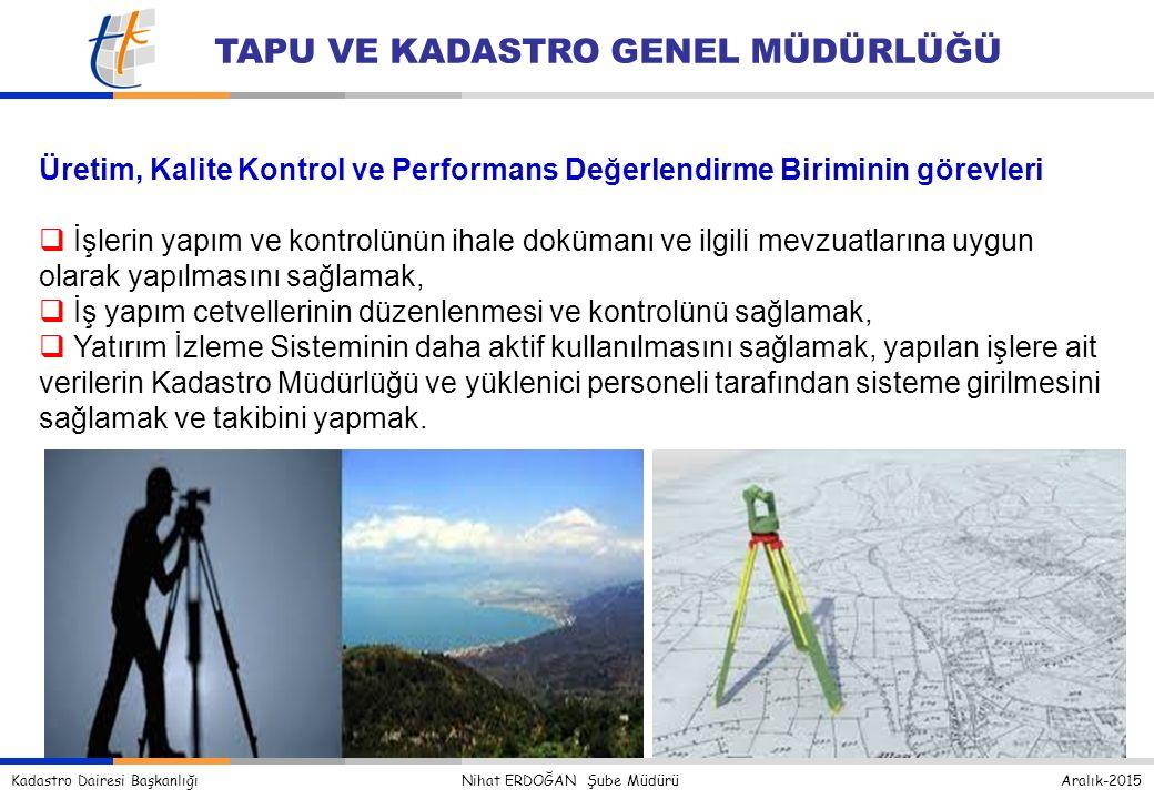 Üretim, Kalite Kontrol ve Performans Değerlendirme Biriminin görevleri.