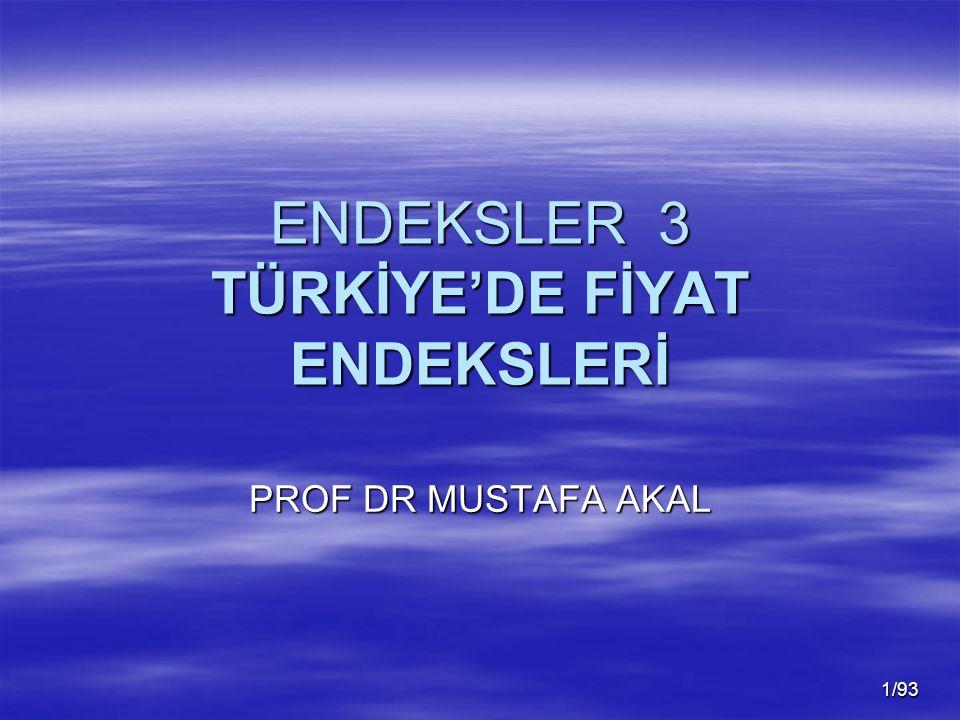ENDEKSLER 3 TÜRKİYE'DE FİYAT ENDEKSLERİ