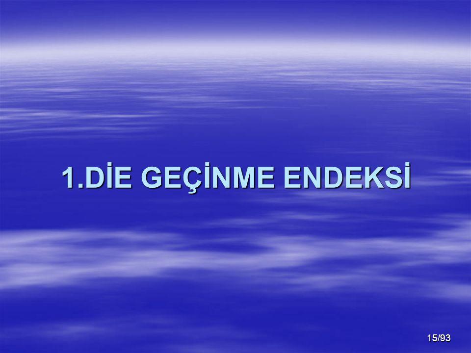 1.DİE GEÇİNME ENDEKSİ Günümüzde Geçinme Endeksleri(TÜFE) DİE ve İstanbul Ticaret Odası Tarafından Ölçülmektedir.