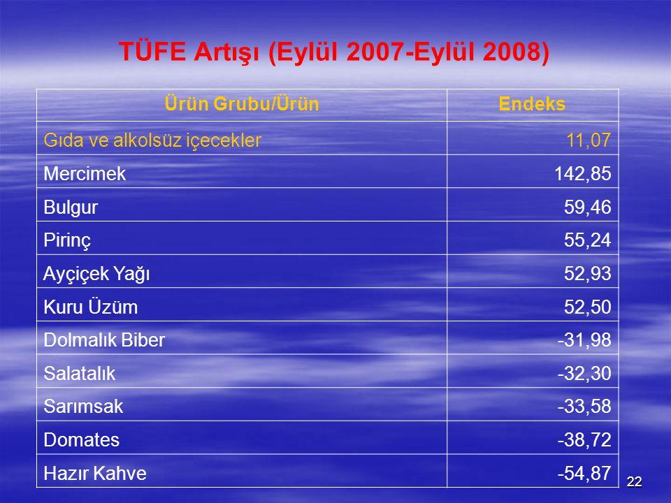 TÜFE Artışı (Eylül 2007-Eylül 2008)