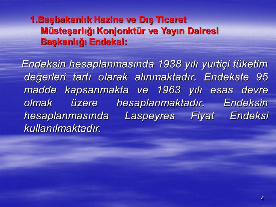 1.Başbakanlık Hazine ve Dış Ticaret Müsteşarlığı Konjonktür ve Yayın Dairesi Başkanlığı Endeksi: