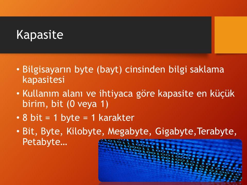 Kapasite Bilgisayarın byte (bayt) cinsinden bilgi saklama kapasitesi