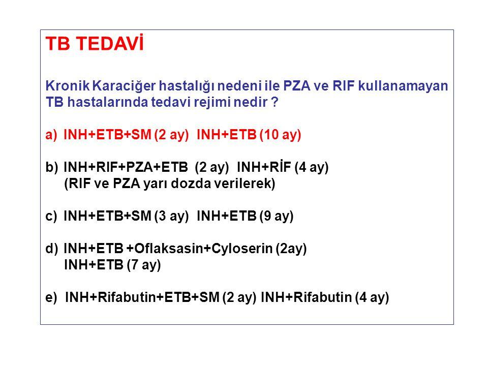 TB TEDAVİ Kronik Karaciğer hastalığı nedeni ile PZA ve RIF kullanamayan. TB hastalarında tedavi rejimi nedir