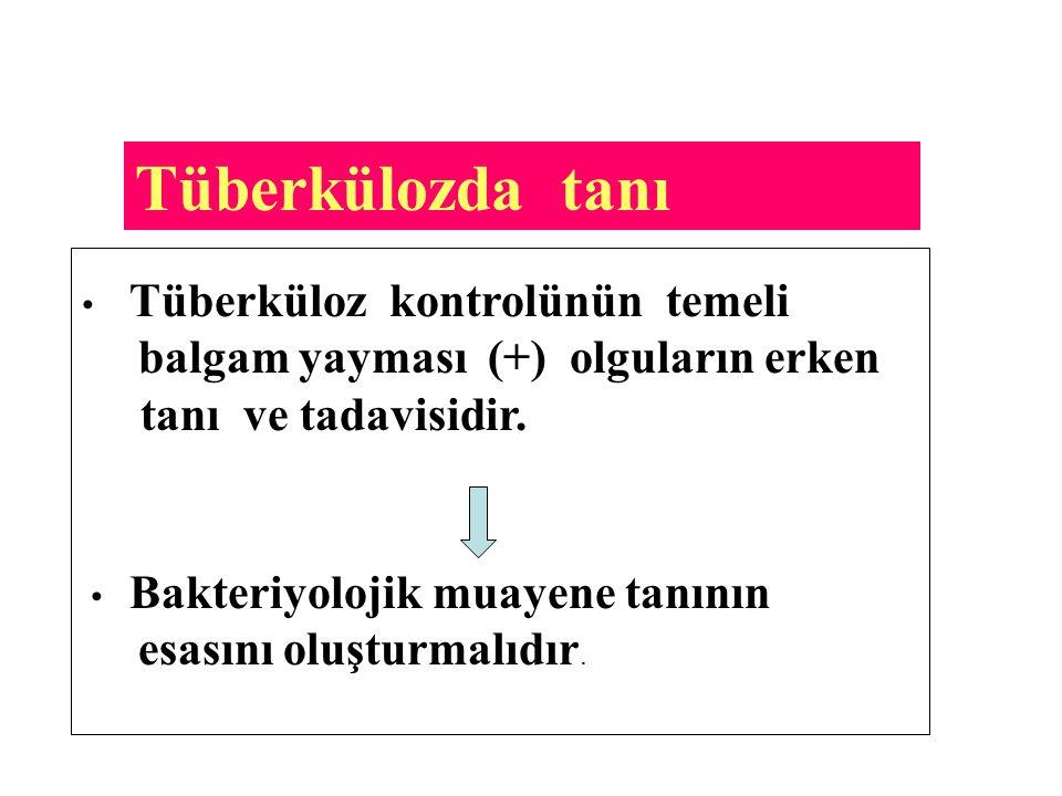 Tüberkülozda tanı tanı ve tadavisidir. esasını oluşturmalıdır.