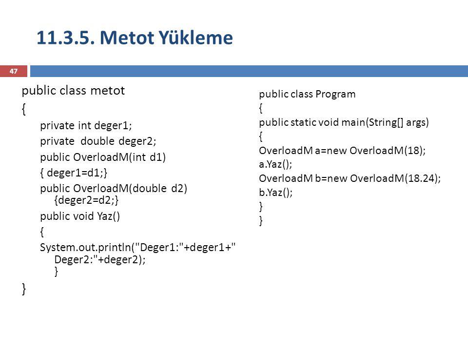11.3.5. Metot Yükleme public class metot { } private int deger1;