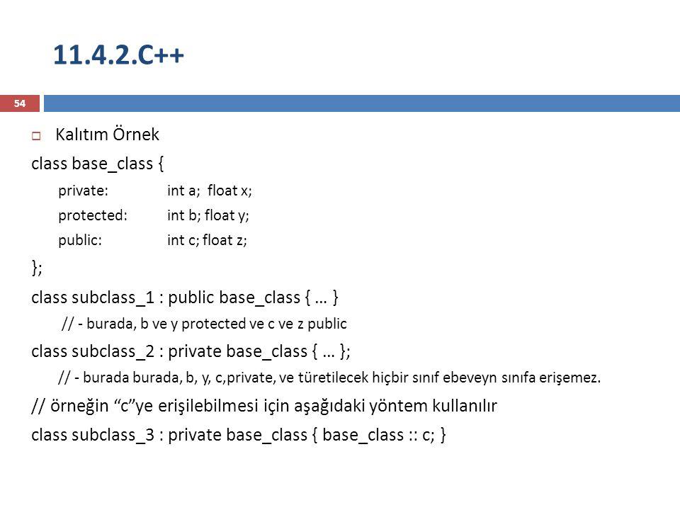 11.4.2.C++ Kalıtım Örnek class base_class { };