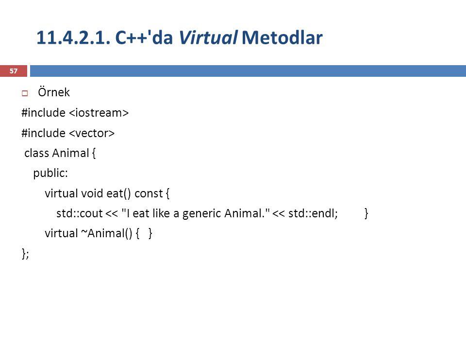 11.4.2.1. C++ da Virtual Metodlar