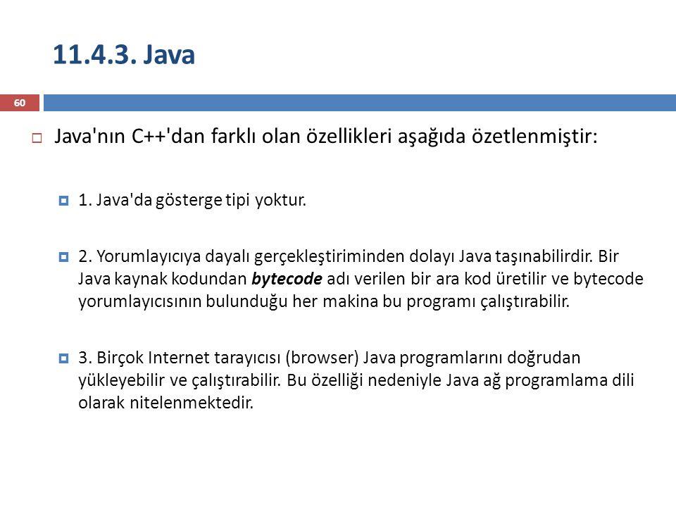 11.4.3. Java Java nın C++ dan farklı olan özellikleri aşağıda özetlenmiştir: 1. Java da gösterge tipi yoktur.