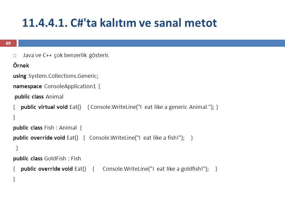 11.4.4.1. C# ta kalıtım ve sanal metot