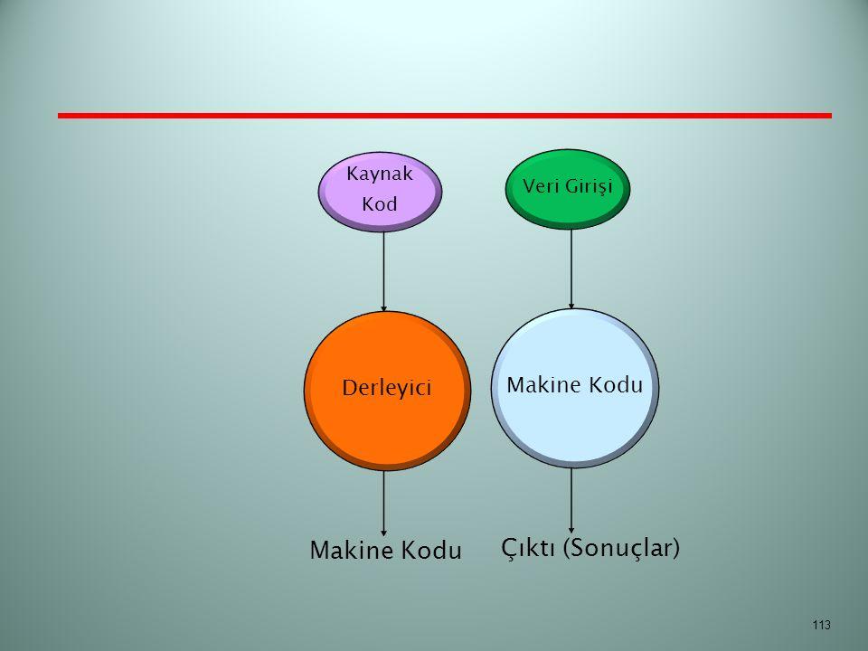 Çıktı (Sonuçlar) Makine Kodu Derleyici Makine Kodu Kaynak Veri Girişi