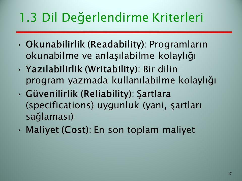 1.3 Dil Değerlendirme Kriterleri