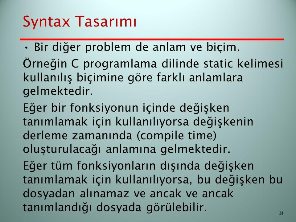 Syntax Tasarımı Bir diğer problem de anlam ve biçim.