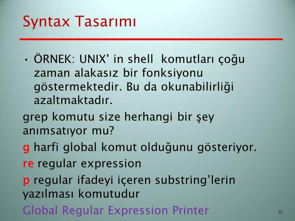 Syntax Tasarımı ÖRNEK: UNIX' in shell komutları çoğu zaman alakasız bir fonksiyonu göstermektedir. Bu da okunabilirliği azaltmaktadır.
