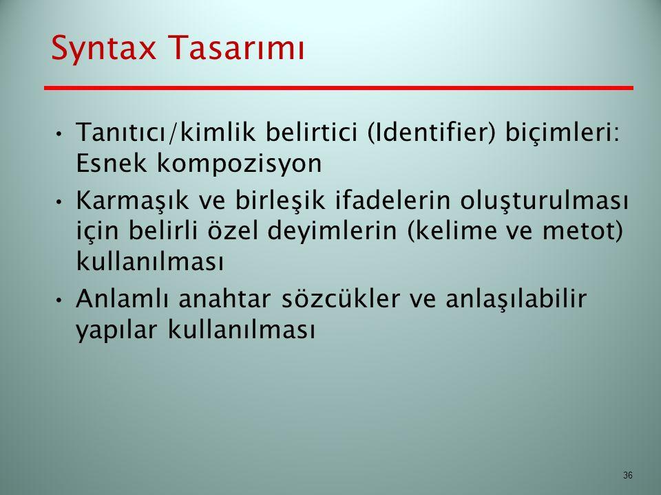 Syntax Tasarımı Tanıtıcı/kimlik belirtici (Identifier) biçimleri: Esnek kompozisyon.