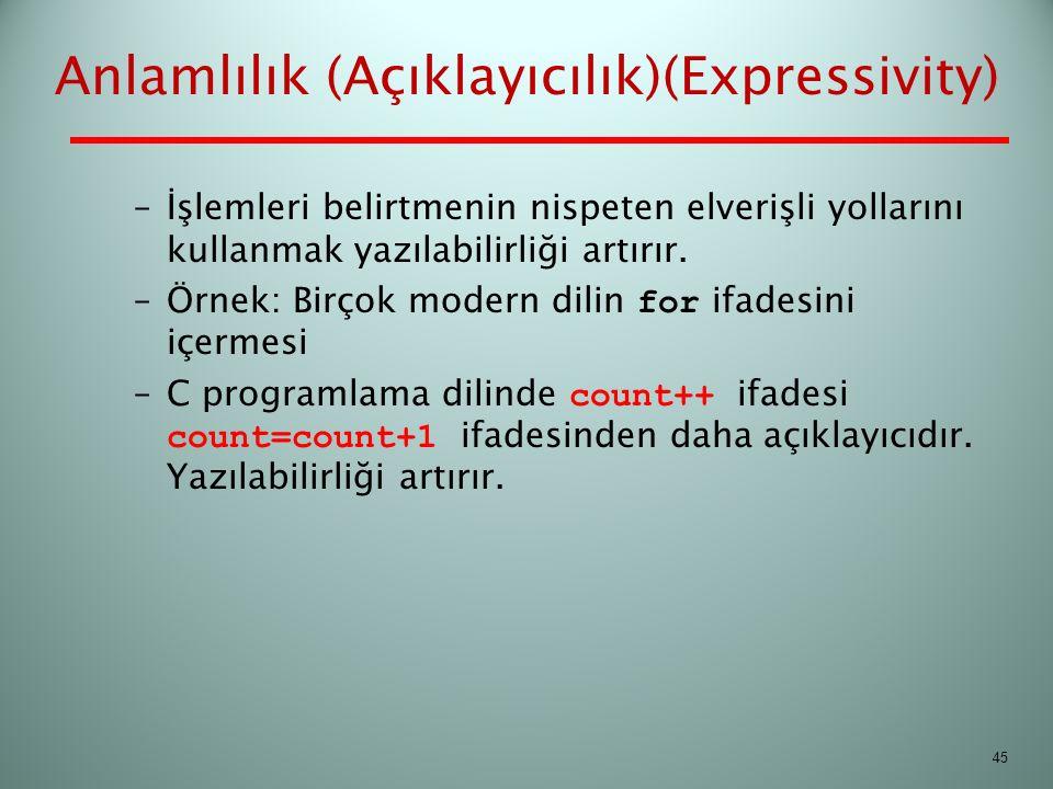 Anlamlılık (Açıklayıcılık)(Expressivity)