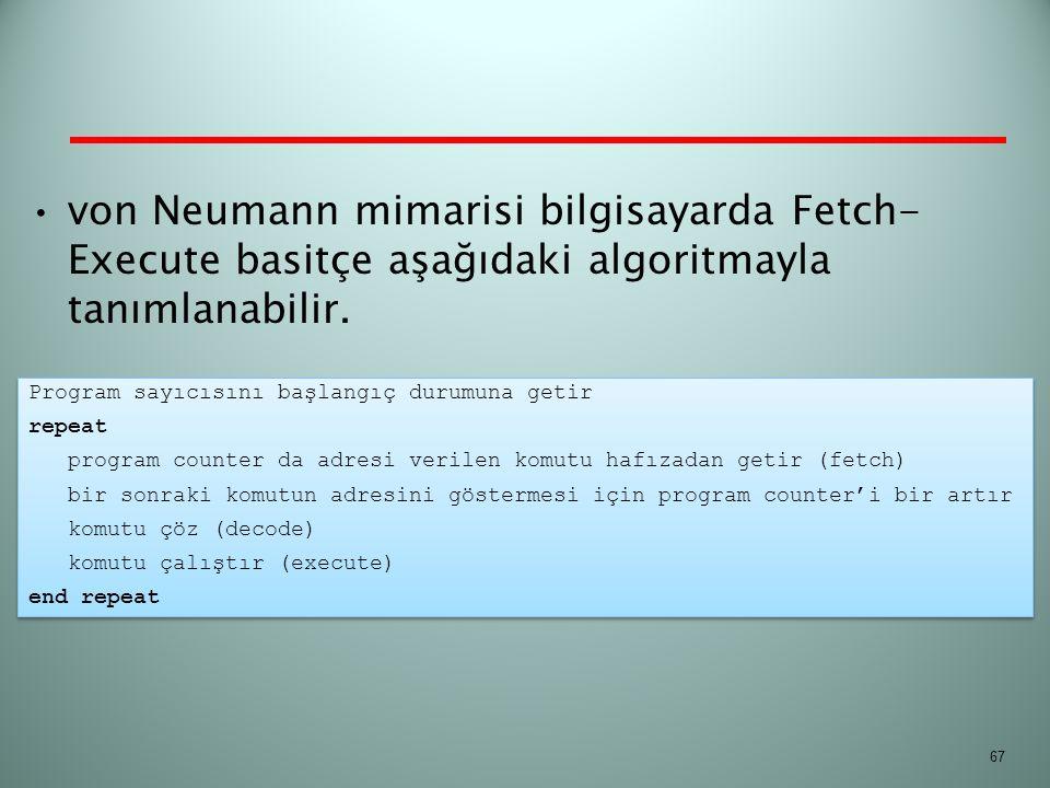 von Neumann mimarisi bilgisayarda Fetch-Execute basitçe aşağıdaki algoritmayla tanımlanabilir.