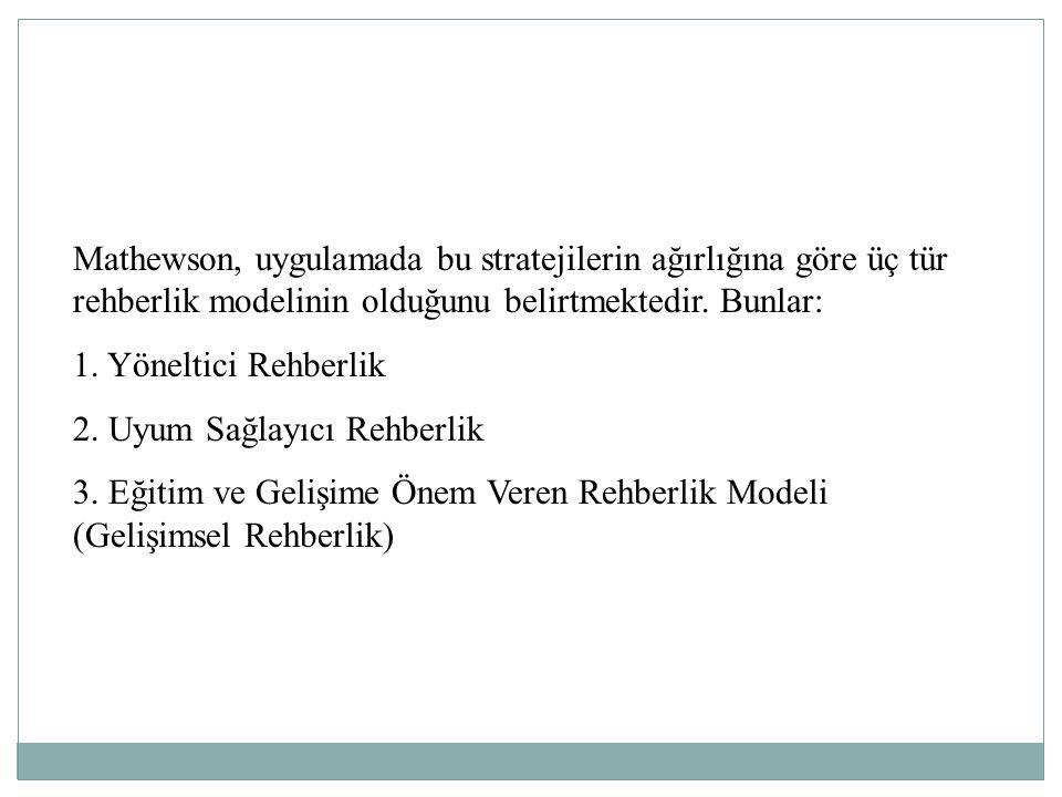 Mathewson, uygulamada bu stratejilerin ağırlığına göre üç tür rehberlik modelinin olduğunu belirtmektedir. Bunlar: