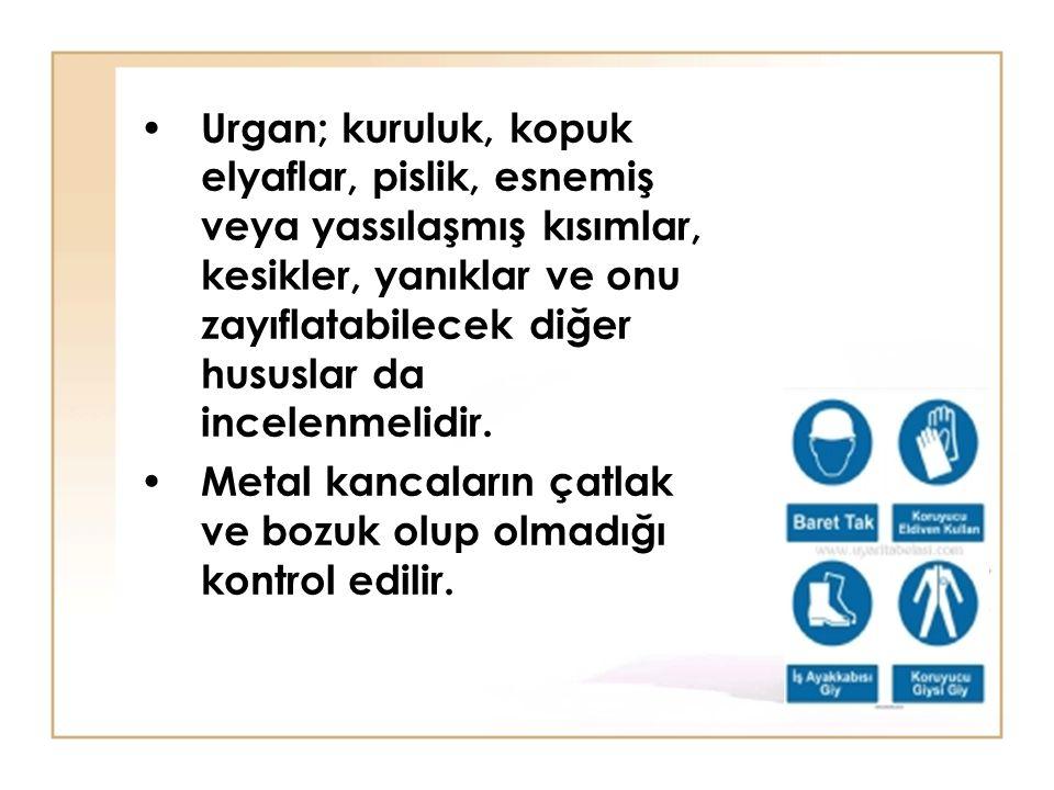 Urgan; kuruluk, kopuk elyaflar, pislik, esnemiş veya yassılaşmış kısımlar, kesikler, yanıklar ve onu zayıflatabilecek diğer hususlar da incelenmelidir.