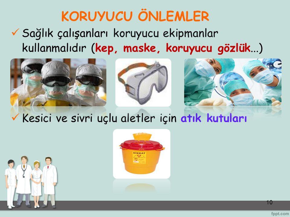 KORUYUCU ÖNLEMLER Sağlık çalışanları koruyucu ekipmanlar kullanmalıdır (kep, maske, koruyucu gözlük...)