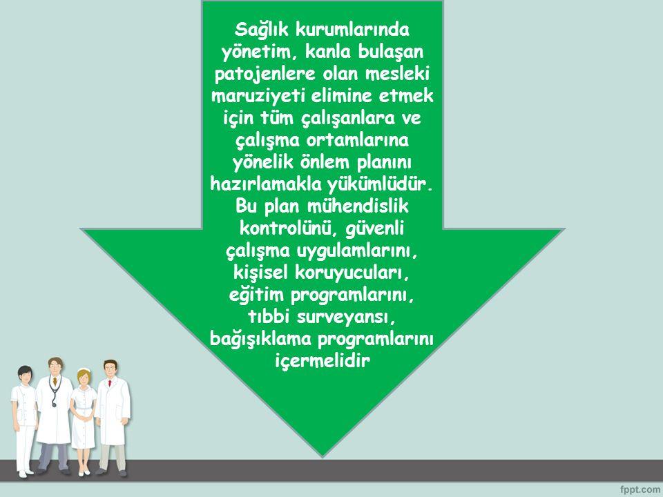 Sağlık kurumlarında yönetim, kanla bulaşan patojenlere olan mesleki maruziyeti elimine etmek için tüm çalışanlara ve çalışma ortamlarına yönelik önlem planını hazırlamakla yükümlüdür.