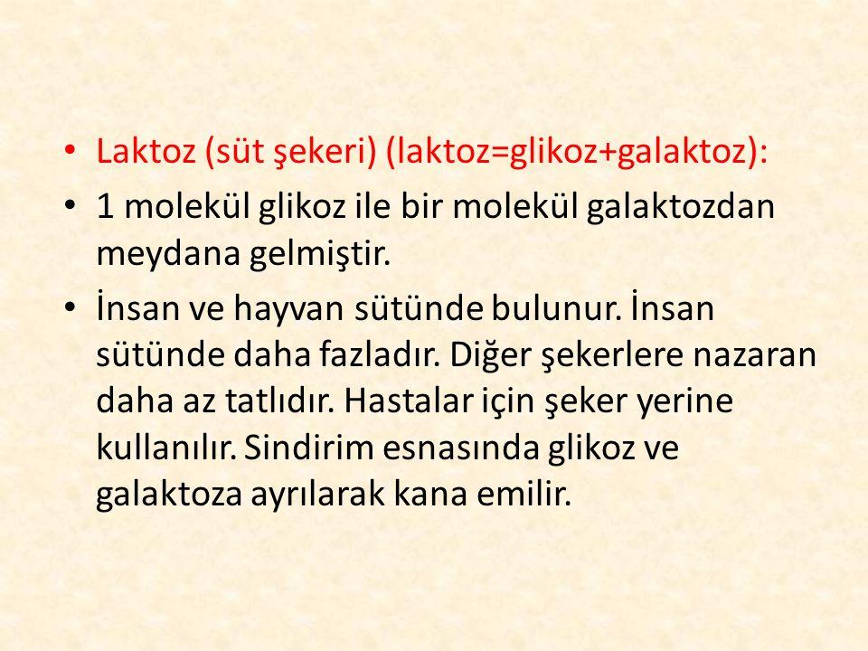 Laktoz (süt şekeri) (laktoz=glikoz+galaktoz):
