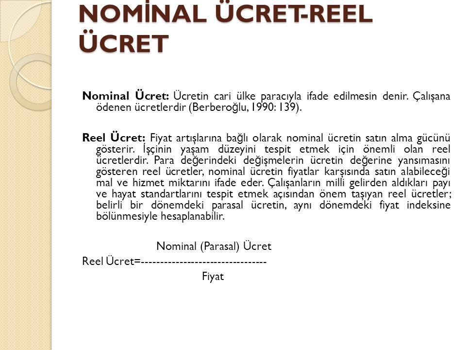 NOMİNAL ÜCRET-REEL ÜCRET