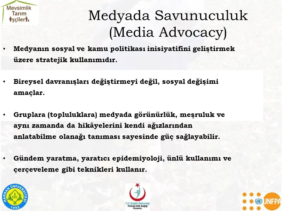 Medyada Savunuculuk (Media Advocacy)