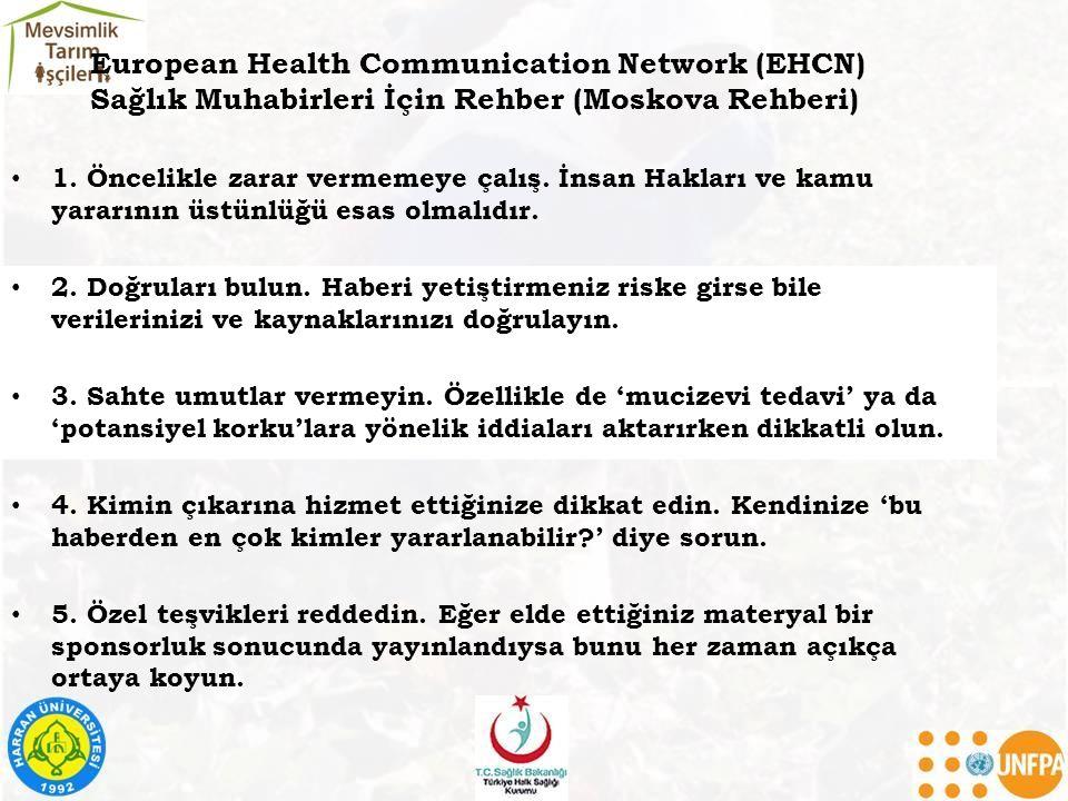 European Health Communication Network (EHCN) Sağlık Muhabirleri İçin Rehber (Moskova Rehberi)