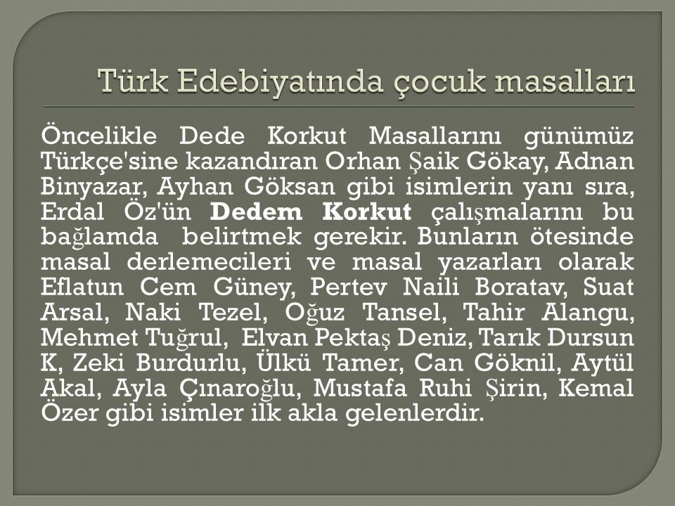 Türk Edebiyatında çocuk masalları