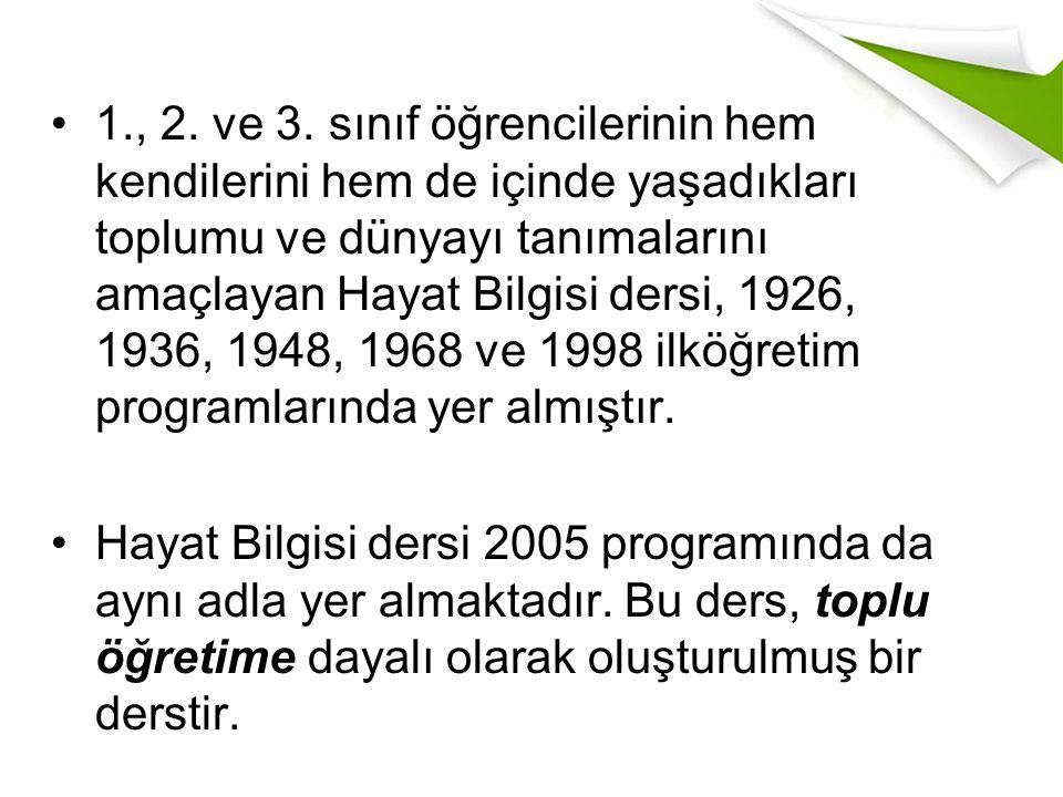 1., 2. ve 3. sınıf öğrencilerinin hem kendilerini hem de içinde yaşadıkları toplumu ve dünyayı tanımalarını amaçlayan Hayat Bilgisi dersi, 1926, 1936, 1948, 1968 ve 1998 ilköğretim programlarında yer almıştır.