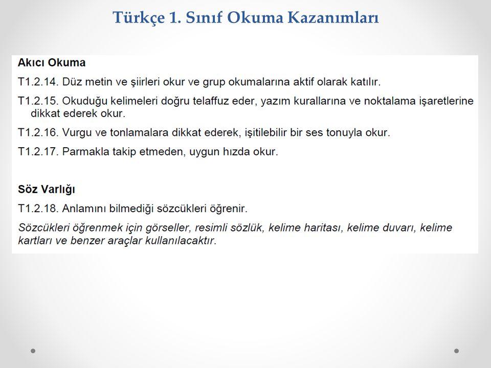 Türkçe 1. Sınıf Okuma Kazanımları