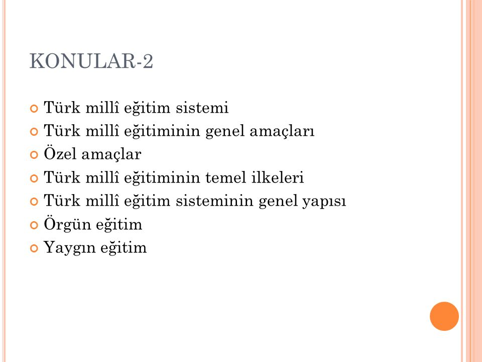KONULAR-2 Türk millî eğitim sistemi