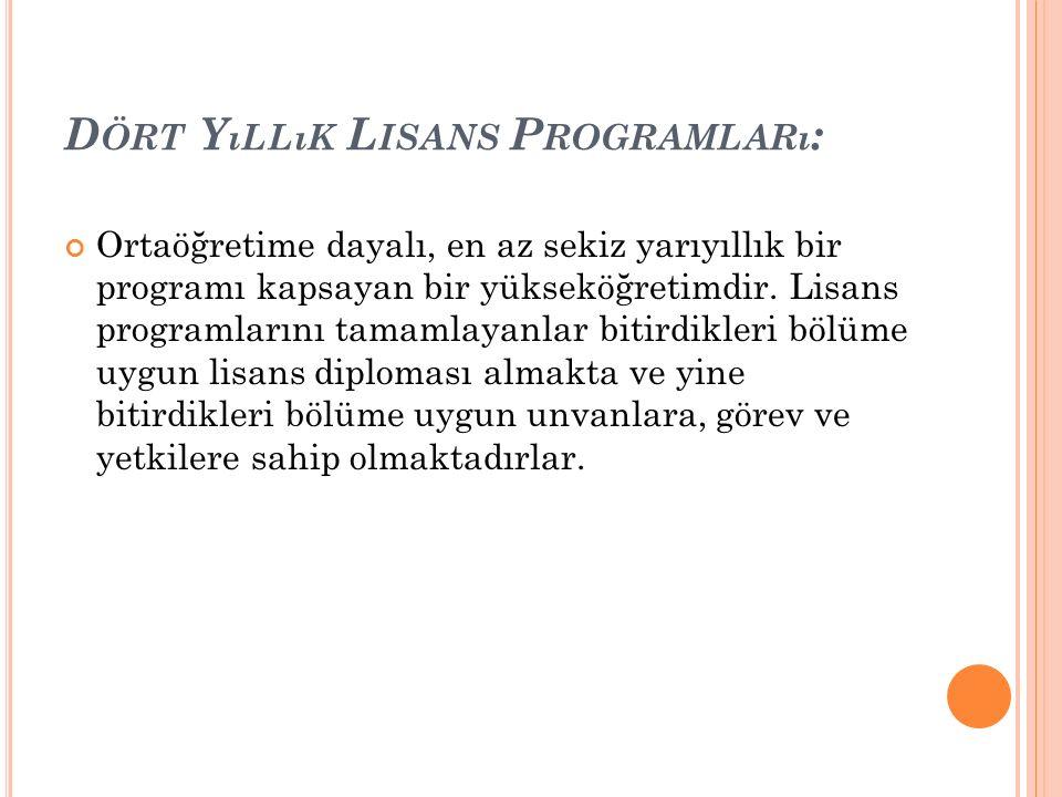 Dört Yıllık Lisans Programları: