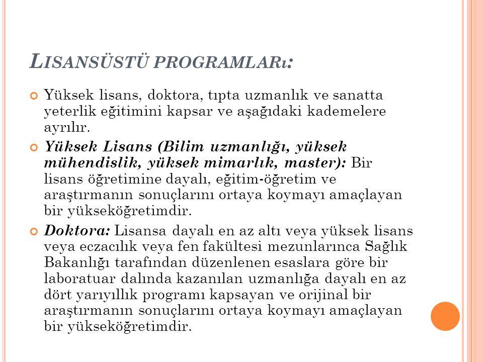 Lisansüstü programları: